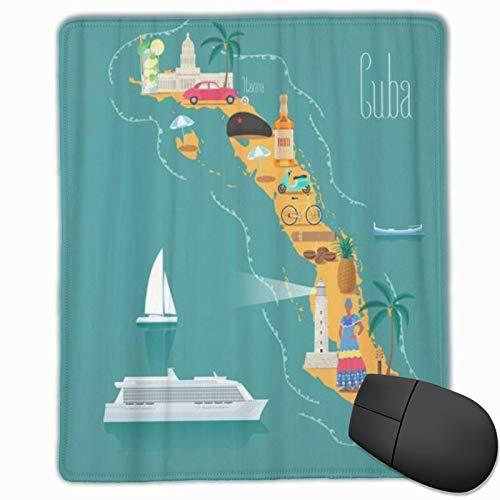 DAOPUDA Alfombrilla Raton Mapa de la Playa de Cuba Monumentos cubanos Mujer Cigarros Explorar Coche Alfombrilla Gaming Alfombrilla para computadora con Base de Goma Antideslizante,250×300×3mm