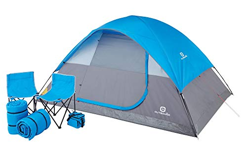 Outbound 6-Piece 5-Person Dome Tent Combo Set with 2 Sleeping Bags | 2 Camping Chairs | 1 Cooler | 6 Piece Set | Dome Tent, Blue