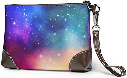 GLGFashion Damen Leder Clutch Bag Geldbörsen The Galaxy Women's Leather Wristlet Clutch Purses Portable Makeup Cosmetic Bag Handbag Organizer Wallet With Zipper For Women Girls