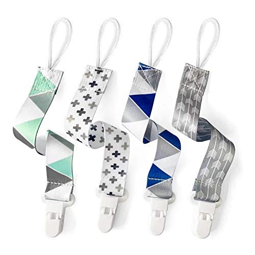 PandaEar Baby Pacifier Clips Solid Color, 4 Pack Universal Holder Leash for Boys and Girls, Perfect for Baby Teething Toys Teethers and Baby Shower Gift (Neutral)