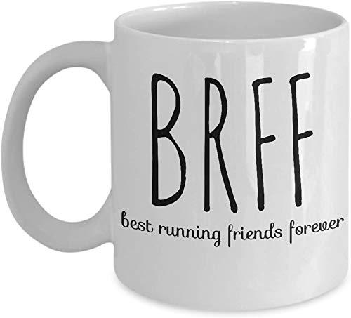 DKISEE Tazas para el día de San Valentín con texto en inglés 'Best Running Friends Forever Valentín' de BRFF BFF de café, chocolate, regalos de té, corredores de maratón para él ella por