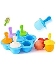 7-Grid Kleurrijke Siliconen Popsicle Mallen, Herbruikbare Mini Ice Cream Moulds, Antistick DIY Popsicle Molds Tray, Ice Lolly Molds, Ice Pop Mould for Kids, Zelfgemaakte Ice Cream, Maak 7 Popsicles tegelijk