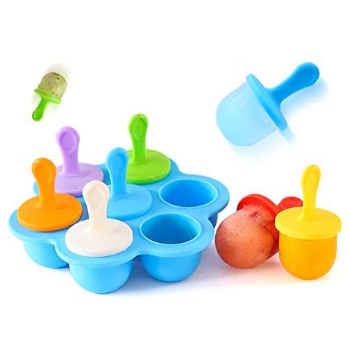 BSTCAR Eisformen eis am stiel,silikon Mini Silikon Popsicle Form 7 Mulden DIY Ice Pop Form mit bunten Kunststoff-Sticks, Eis Makers für Ei, Lollipop und Eis Form Baby Food Storage Container