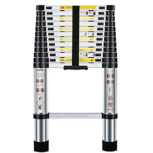 Nestling 12.5ft/3.8M Telescopic Ladder, Aluminium Loft Ladder Extendable, Max Load 150kg/330lb, Adjustable Step, for Decorating, Painting