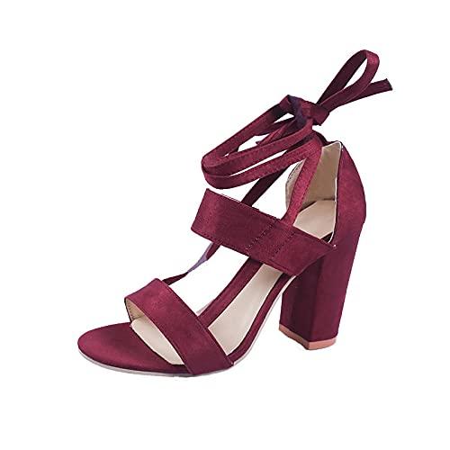 Zapatillas De Casa De Verano Sandalias,Sandalias de Mujer Gruesas con Cinta-Vino Tinto_36,Piscina Playa Luz Antideslizante Sandalias