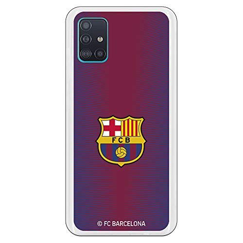 Funda para Samsung Galaxy A51 Oficial del FC Barcelona Barcelona Fondo Rojo Escudo Color para Proteger tu móvil. Carcasa para Samsung de Silicona Flexible con Licencia Oficial del FC Barcelona.