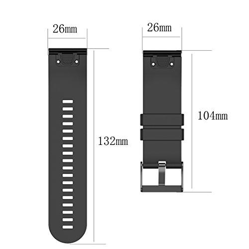 AWADUO For Garmin Descent Mk1 Watch, Fenix 5X, Fenix 3, Fenix 3 HR, Fenix 3 Sapphire, D2 Bravo, Quaitx 3, Tactix Bravo Replacement Silicone Wrist Band Strap (Silicone Blue)