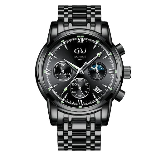 Orologio da uomo, cronografo impermeabile in acciaio inossidabile per uomo, orologio da uomo classico casual, orologio da polso minimalista sportivo moderno con data automatica nero