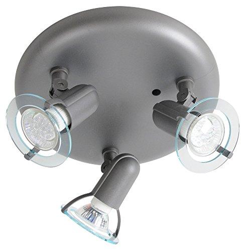 Decken Lampe grau Innenraum Beleuchtung Spots schwenkbar Leuchte rund Briloner 3306/031P