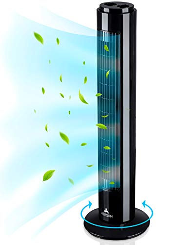 AERSON Turmventilator mit Ozillation 76 cm | Standventilator mit 3 Geschwindigkeitsstufen | Tower Fan - 45 W | Ventilator mit Timerfunktion | 70° oszillierend (Schwarz)