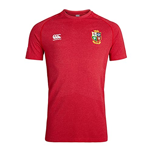 Canterbury Herren British and Irish Lions Rugby Seamless Training T-Shirt, Tango Red Marl, XL