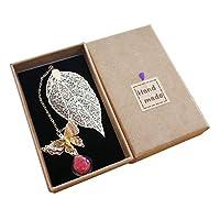 JKGHKメタルリーフブックマーク、3Dバタフライとガラスビーズの永遠のドライフラワーペンダント付き。 読者の女性への理想的な贈り物,赤