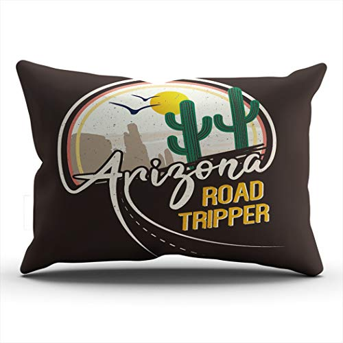 BBIE GODFR Decor Pillowcases Arizona Road Tripper Cactus Western Desert Hidden Zipper Design Throw Pillow Covers Lumbar Size 12 X 24 inch Pillows Cushion Cover One Sided Print