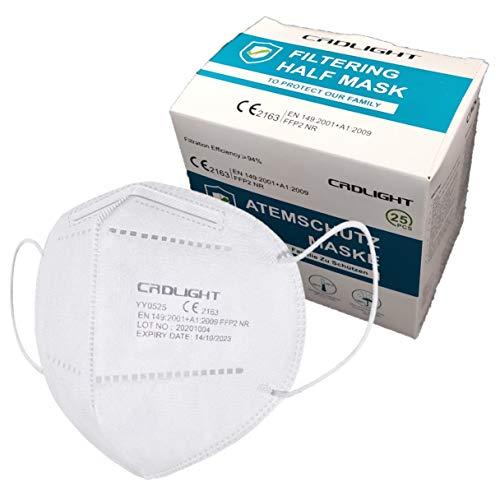CRDLIGHT 25 Stück FFP2 Maske CE zertifiziert, 5-lagig, CE 2163 EN 149 Schutzmaske, EU CE Zertifizierte Mund- und Nasenschutz nach EN149:2001+A1:2009
