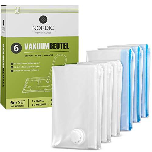 NORDIC® - Vakuumbeutel 6er Set (60x40cm + 70x50cm) – BPA Frei INKL. ETIKETTEN - Vakuumbeutel für Kleidung - Vakuum Aufbewahrungsbeutel - Vakuumiererbeutel - Vacuum Bags