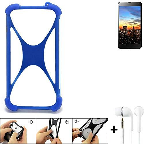 K-S-Trade® Bumper Für Hisense HS-U970E-8 Schutzhülle Handyhülle Silikon Schutz Hülle Cover Case Silikoncase Silikonbumper TPU Softcase Smartphone, Blau (1x), Headphones
