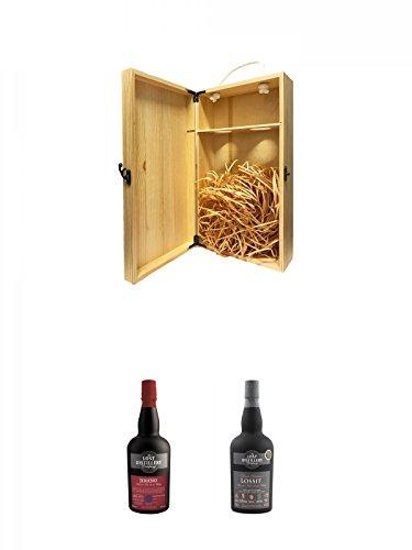 1a Whisky Holzbox für 2 Flaschen mit Hakenverschluss + The Lost Distillery Jericho Blended Scotch Malt 0,7 Liter + The Lost Distillery Lossit Blended Scotch Malt 0,7 Liter