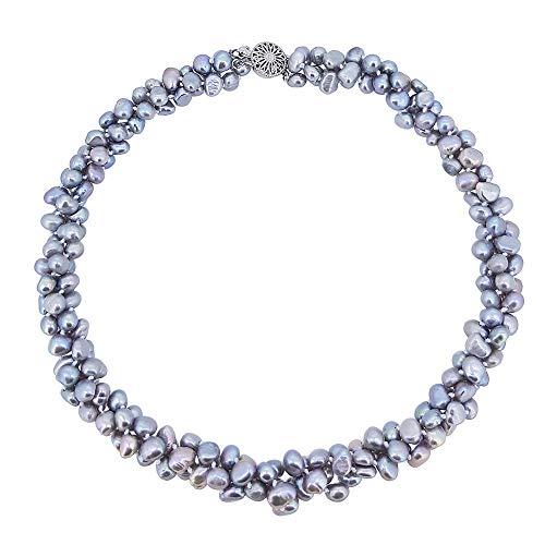 TreasureBay Stunning Chunky Multi Strands 6mm Natural Freshwater Baroque Pearl Necklace (Grey)