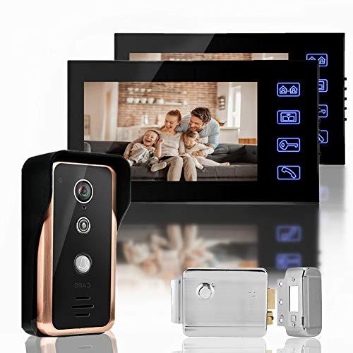 Timbre de video de 7 pulgadas con 2 monitores, videoportero con cable, videoportero con intercomunicador, timbre de puerta con intercomunicador con cámara RFID IR(EU 110-240V)