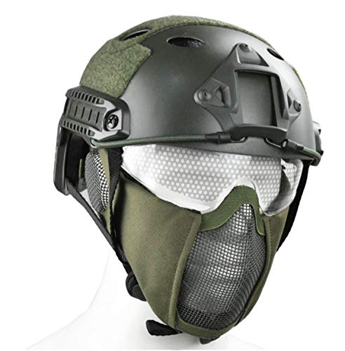 JFFCESTORE PJ Type Tactical Multifunctional Fast Helmet and Foldable Adjustable Half Mesh Face mask Guard (Green)