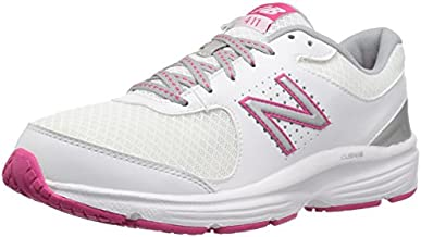 New Balance Women's 411 V2 Walking Shoe, White/Pink, 8 B US