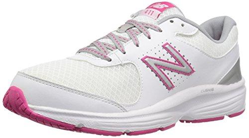 New Balance Women's 411 V2 Walking Shoe, White/Pink, 8 B US