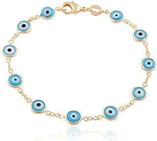 Gold Overlay with Light Blue Mini Evil Eye Style 7.5 Inch Clasp Bracelet (T-328)