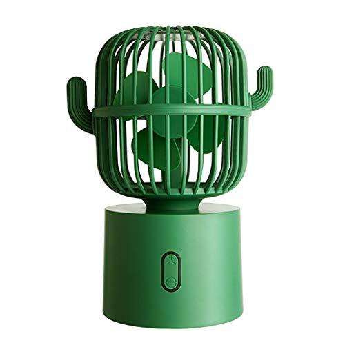 JIABAN Ventilador portátil Cactus de mano, recargable y giratorio automático, 3 velocidades, apto para interiores y exteriores