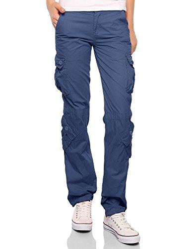 Match Pantalons Cargo pour Femme #2036(2036 Bleu lavé,Medium)