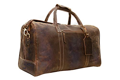Genuine Buffalo Leather Travel Duffle Bag | Overnight Weekend Leather Bag | Sports Gym Duffel for Men| Airplane Under Seat Carry on Bags