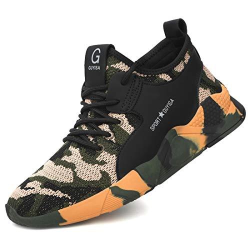 [tqgold] 安全靴 作業靴 スニーカー 軽量 鋼先芯 通気性 耐摩耗 耐滑ソール メンズ レディース ハイカット ブーツ 黒 作業 靴 仕事 工事現場 疲れない おしゃれ あんぜん靴 (迷彩 28.5cm)