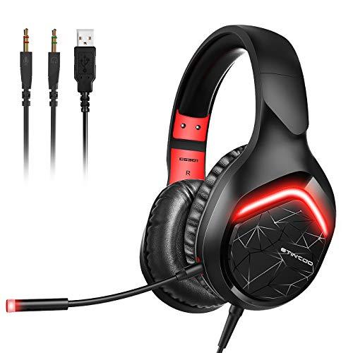Fone de ouvido estéreo para jogos SOMIC para Xbox One, PS4, PS5, PC, fone de ouvido com plugue de 3,5 mm com microfone destacável, luz de LED, protetores de ouvido macios, controle de volume, fones de ouvido gamer GS301