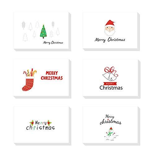 24 Pezzi Cartoline di Natale con Buste e Adesivi, Regali Natale Decorazioni, 6 Disegni Diversi (bianco)