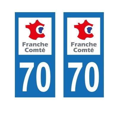 Zone-Stickers 2 Autocollants Plaque Immatriculation 70 Franche-Comté Haute-Saône - Carrés