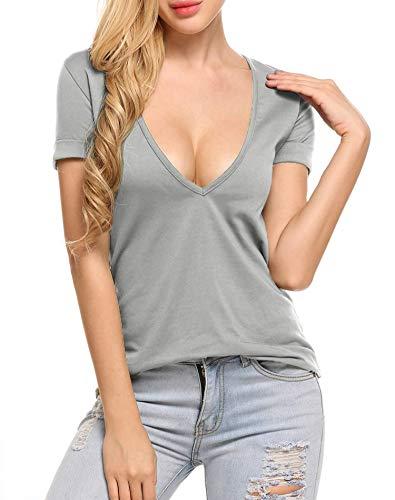 T-Shirt Damen Tiefer V-Ausschnitt Bluse Kurzarm Shirts Baumwolle Oberteil Sexy Sommer Tops