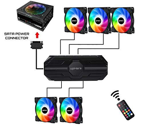upHere 120 mm RGB LED-Fernbedienung, leise, Gehäuse-Kühler, Gehäuse-Kühler und Heizkörper, Luftstrom SR12-06-3