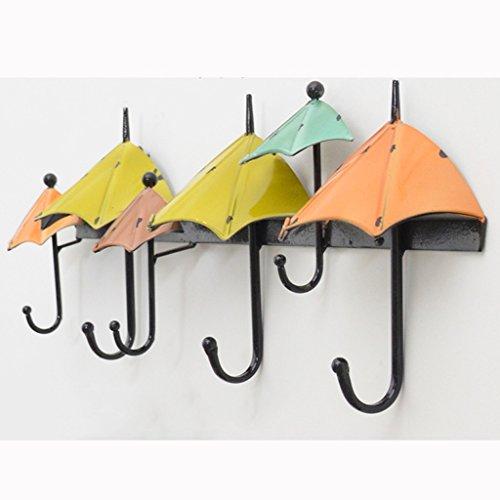Xuping shop Schmiedeeisen dekorativer Haken, Farbe Regenschirm Typ Schlüsselanhänger, Haken im mediterranen Stil 6 Haken (Color : B)