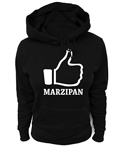 Artdiktat Damen Hoodie - I Like Marzipan, Größe XL, schwarz