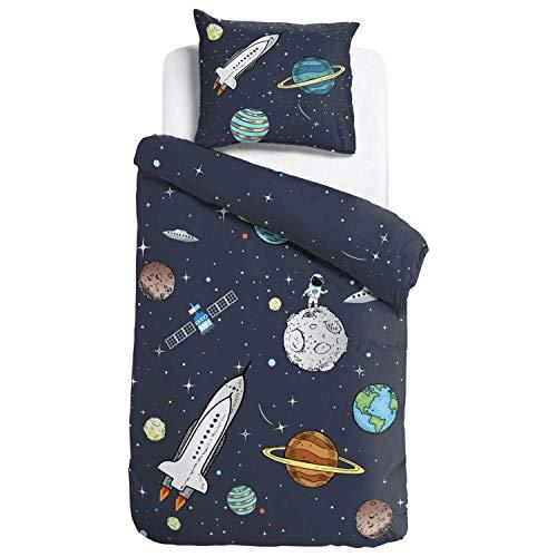 ESPiCO Bettwäsche Sleep and Dream Rocket Weltall Rakete Kinder Zimmer Erde Jupiter Mond Astronaut Satellit Renforcé, Größe:135 cm x 200 cm