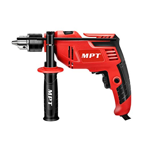 MPT Corded Hammer Impact Drill with Auxiliary Handle 550W 13mm Chuck Variable Speed and Multifunction