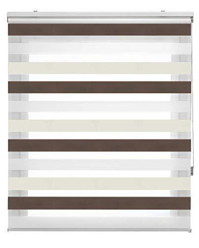 Blindecor Lira Estor Enrollable Doble Tejido, Noche y día,Tricolor 140 x 180 cm, Color Marron Crema, Poliéster