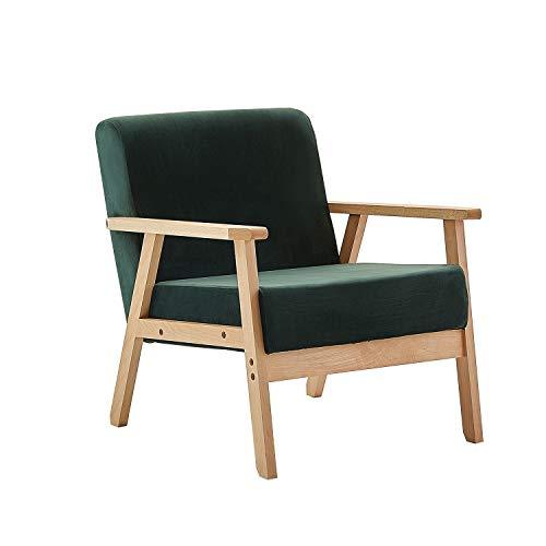 setsail Sessel Samt Retro Lounge Sessel Holzsessel Relaxsessel Wohnzimmersessel mit Armlehne für Wohnzimmer Schlafzimmer Dunkelgrün