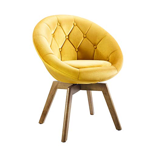 Volans Mid Century Modern Velvet Tufted Round Back Upholstered Swivel Accent Chair Yellow with Wood Legs Vanity Chair, Home Office Desk Chair for Living Room Bedroom Study