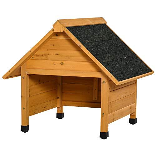 Casetta Box da Giardino in Legno per Robot Tagliaerba 75x76x70 cm Giallo