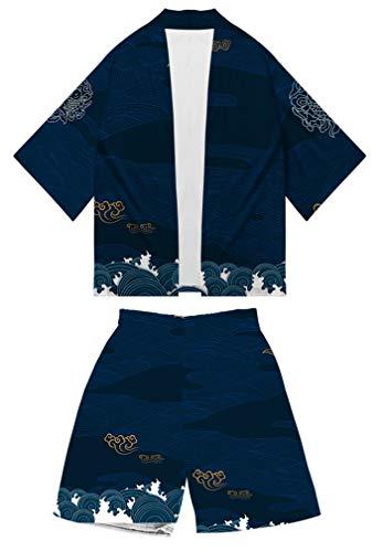 AMOMA Herren Anime Naruto Digitaldruck Kimono Strickjacke und Strandshorts Badehose Zweiteilige Sets(3XL,Color04)