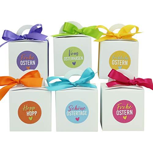 Paperdrachen - 12 scatole per conigli pasquali, con nastro di raso, scatole regalo in bianco per Pasqua, elegante confezione regalo, design 8, decorazione pasquale 2021