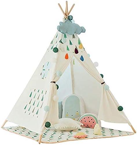 Kinderspielzelt Mit Bodenmatte Kinderspielhaus Kinderzimmerdekor Zelt Für Kinder Spielhaus Faltbare Indoor Outdoor Zelte Kinder (Farbe   Weiß, Größe   120x120x140cm)
