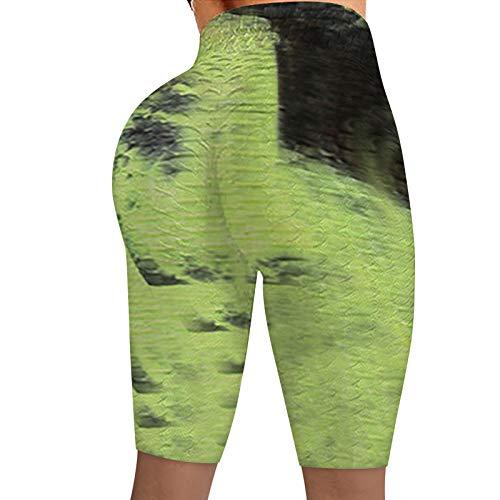 Junjie Leggins para Mujer para Yoga Sin Costura Tie-Dye Mallas de Deporte de Mujer Panal Arrugado para Nalgas Anticelulitis para Reducir Vientre Gran Elásticos Leggings