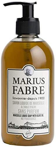 Marius Fabre - Savon liquide de Marseille, non parfumé 400ml. Fabriqué à base d'huile d'olive et d'huile de coprah, appréciées pour les propriétés moussantes