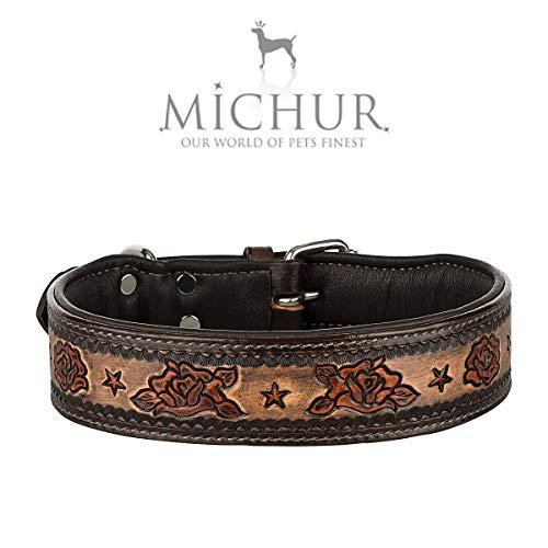 MICHUR Rosalina Hundehalsband Leder, Lederhalsband Hund, Halsband, Leder, Schwarz Braun Rot, mit Rosen Muster, in verschiedenen Größen erhältlich